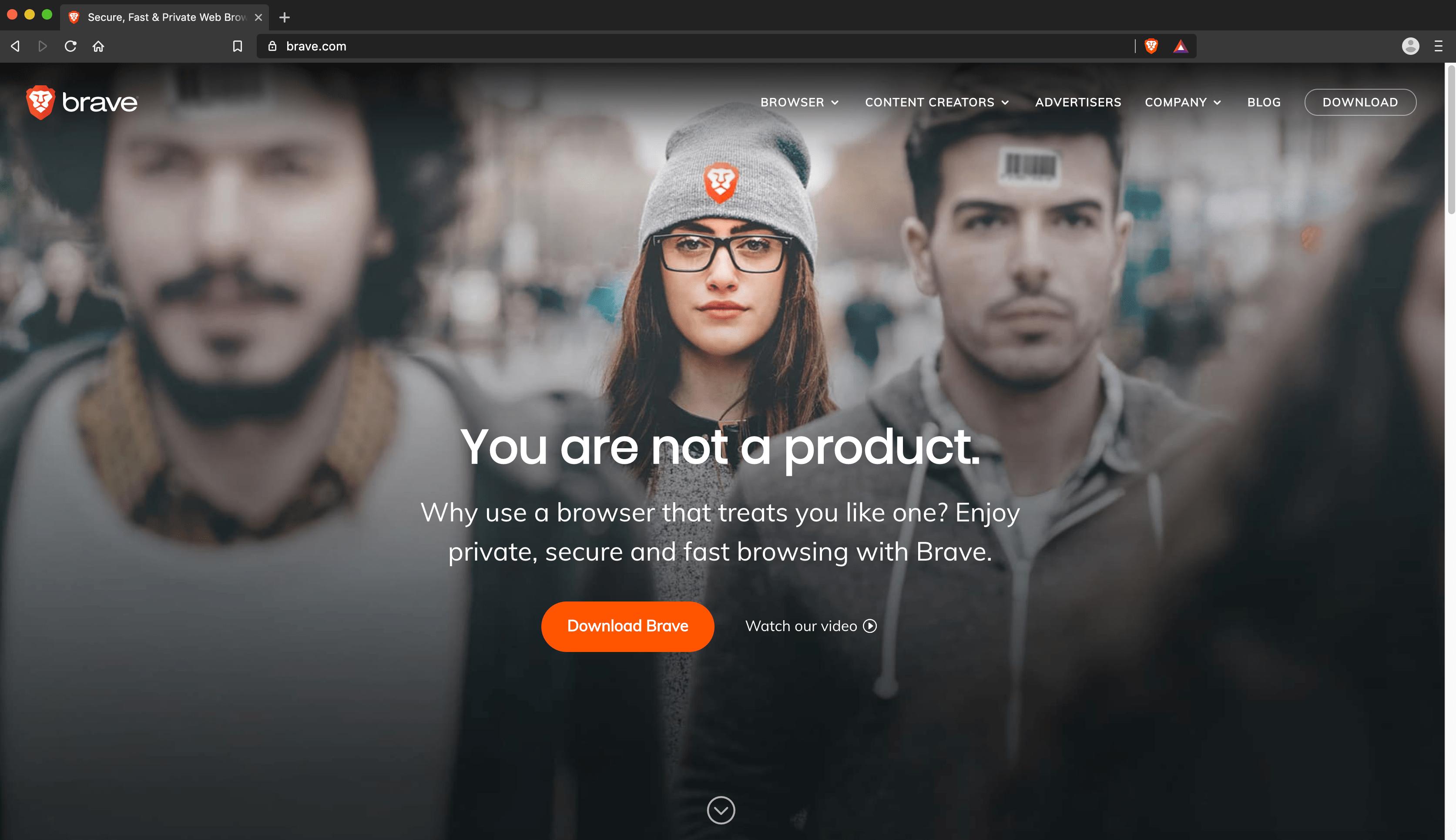 Brave homepage on Brave browser