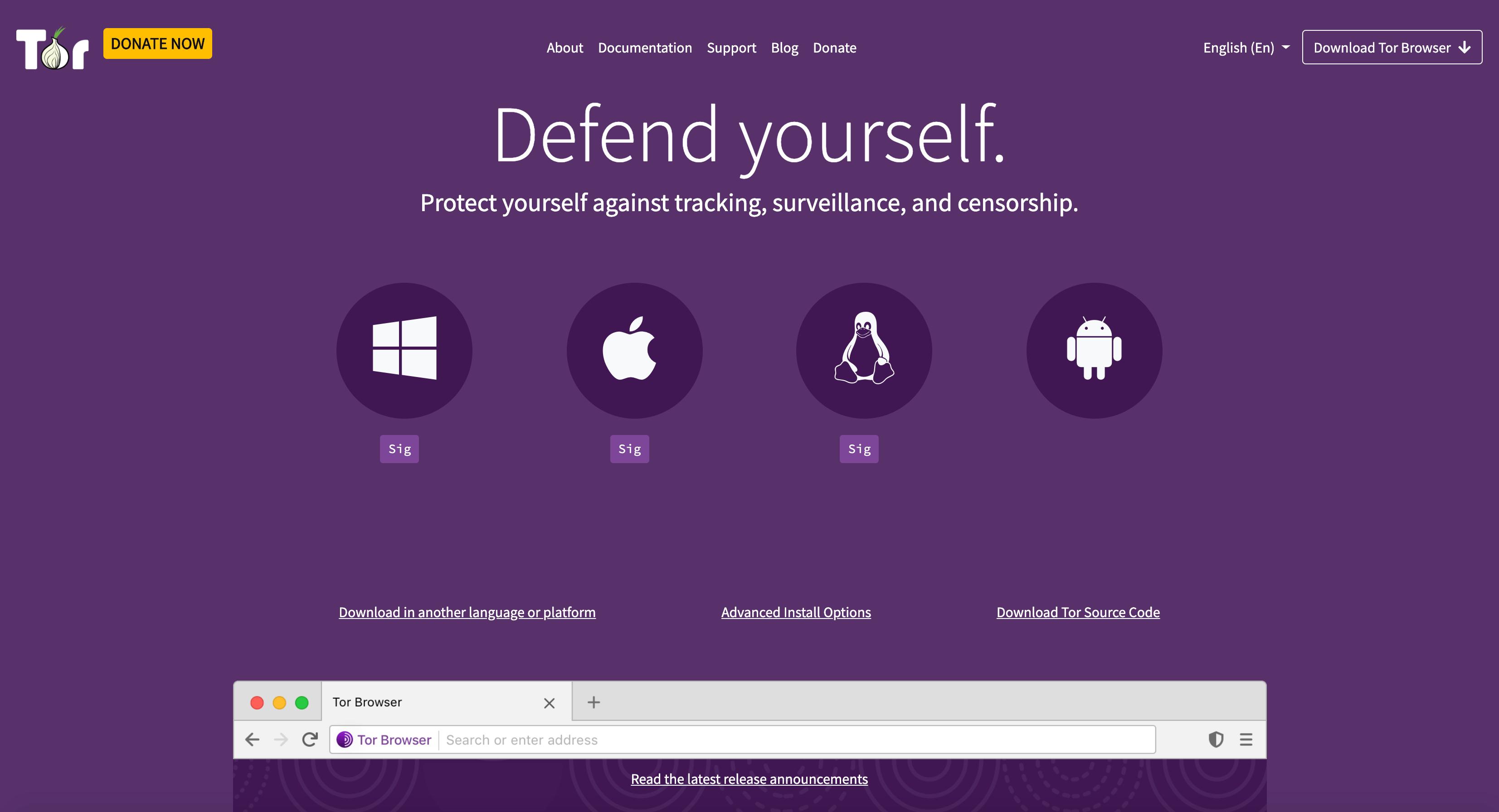 Tor browser homepage