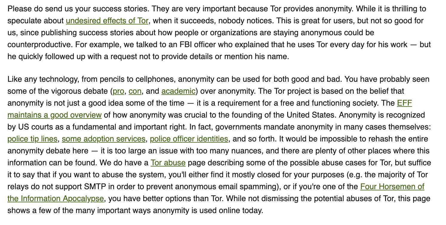 Tor explains the fundamental right of privacy and anonymity