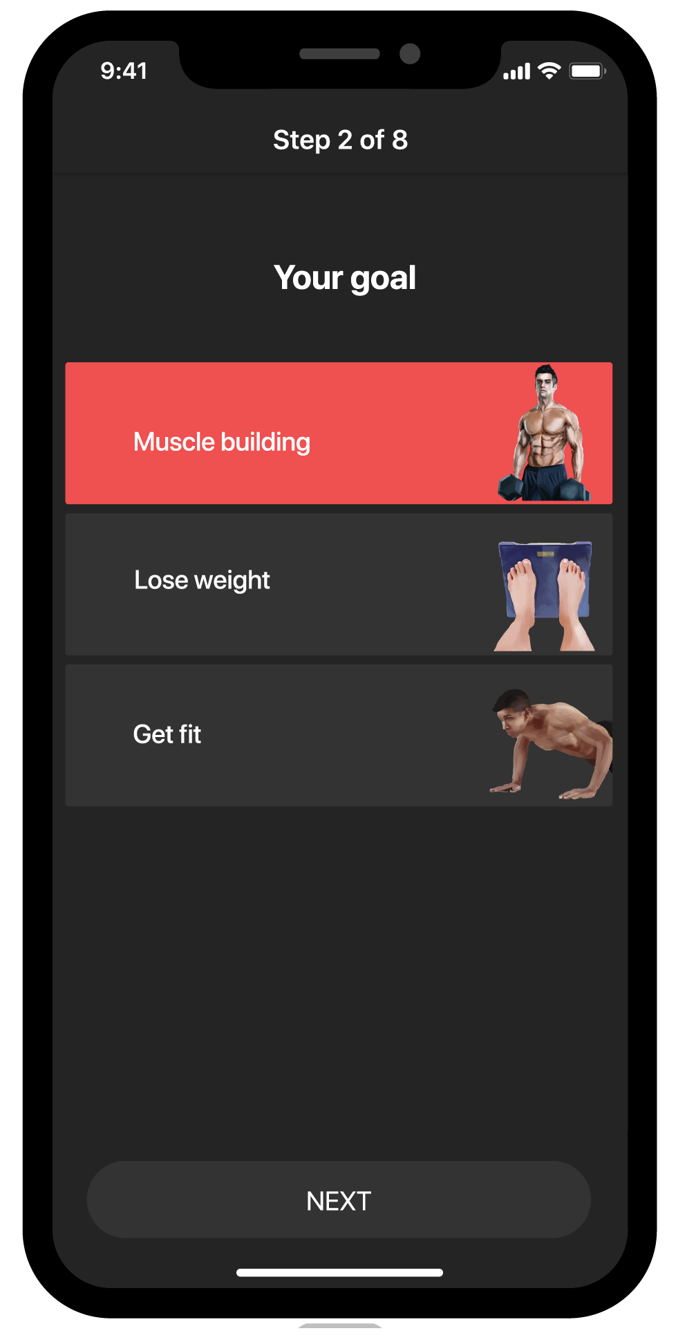 BestFit fitness app screen, select goal, muscle building, lose weight, get fit