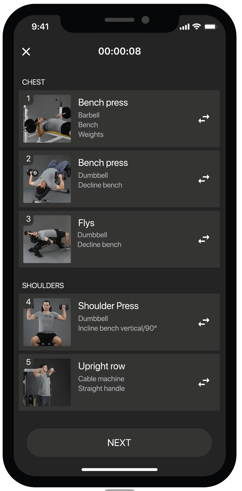 BestFit fitness app screen, personal workout plan, exercises bench press, flys, shoulder press, upright row