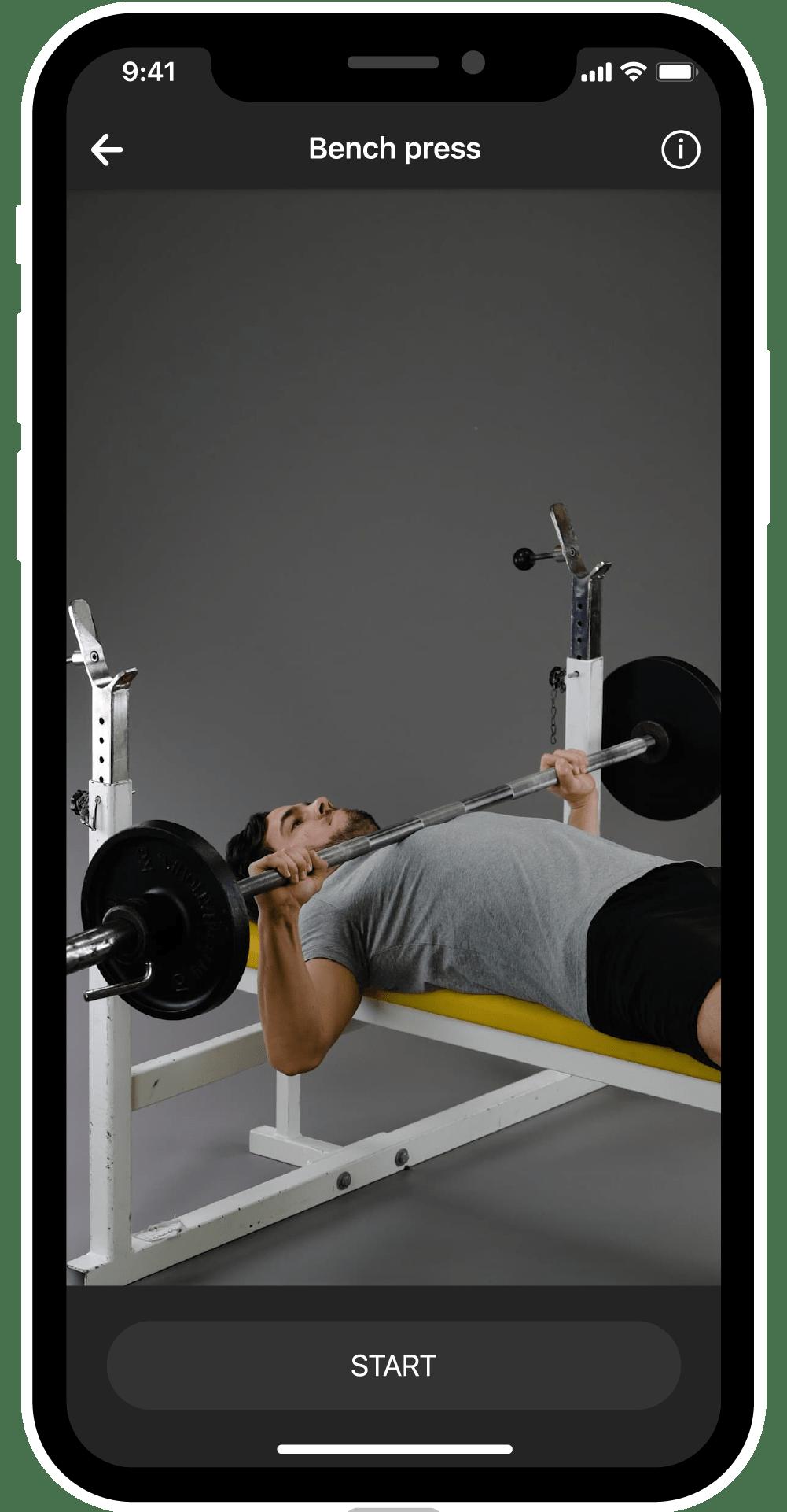 BestFit fitness app screen, explanatory video, bench press