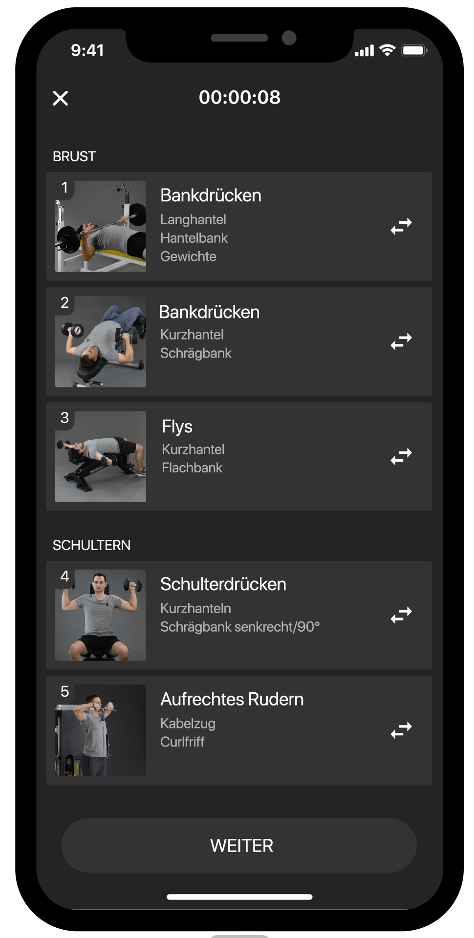 BestFit Fitness-App Screen individueller Trainingsplan, Übungen
