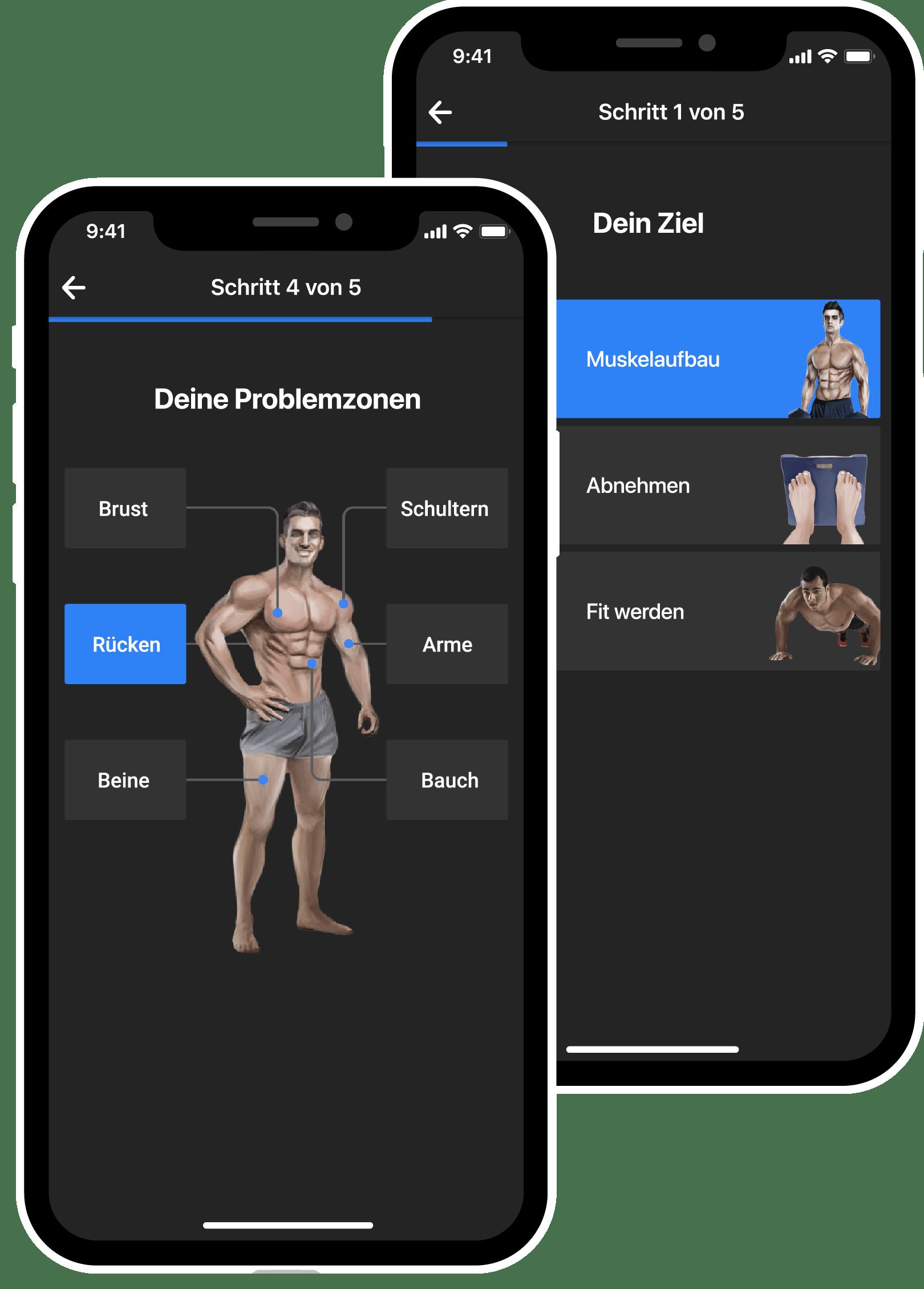 BestFit Home Fitness-App Ziele, Problemzonen auswählen