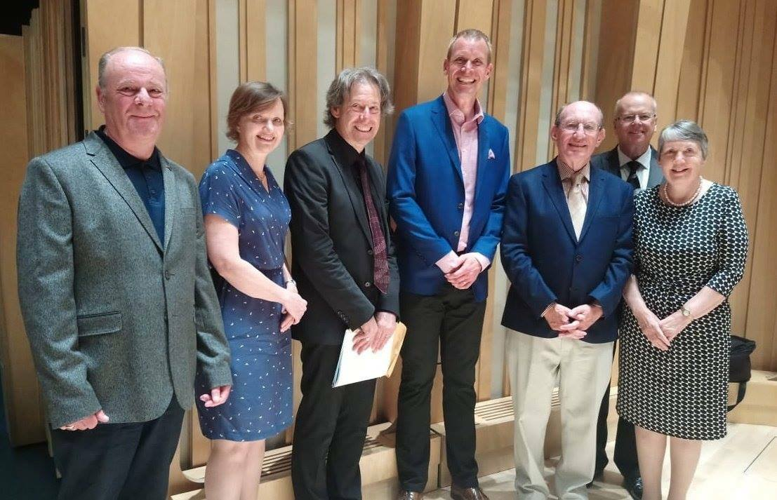 RWCMD Cory Composition Prize, 25 May 2018. From L-R: Philip Morris, Liz, John Wallace, Philip Harper, Nigel Seaman (back), parents of the winning composer, Andrew Wainright.