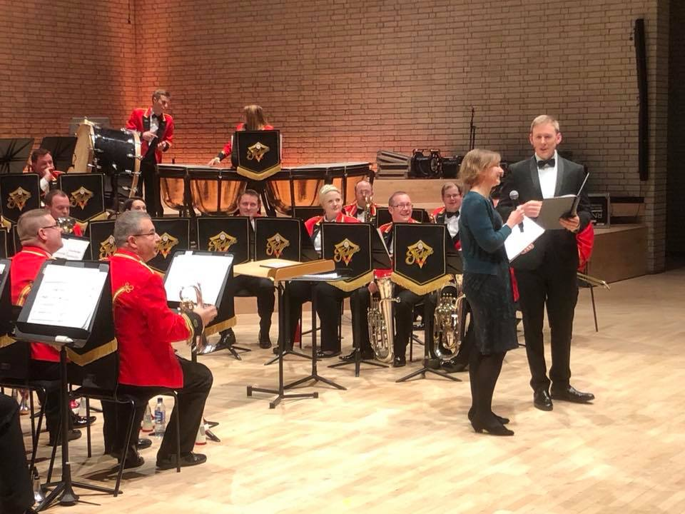 With BBC Radio 3 presenter, Tom Redmond, premiere of Tide and Time, Foden's Band, Michael Fowles, RNCM Brass Band Festival, 26 January 2018.