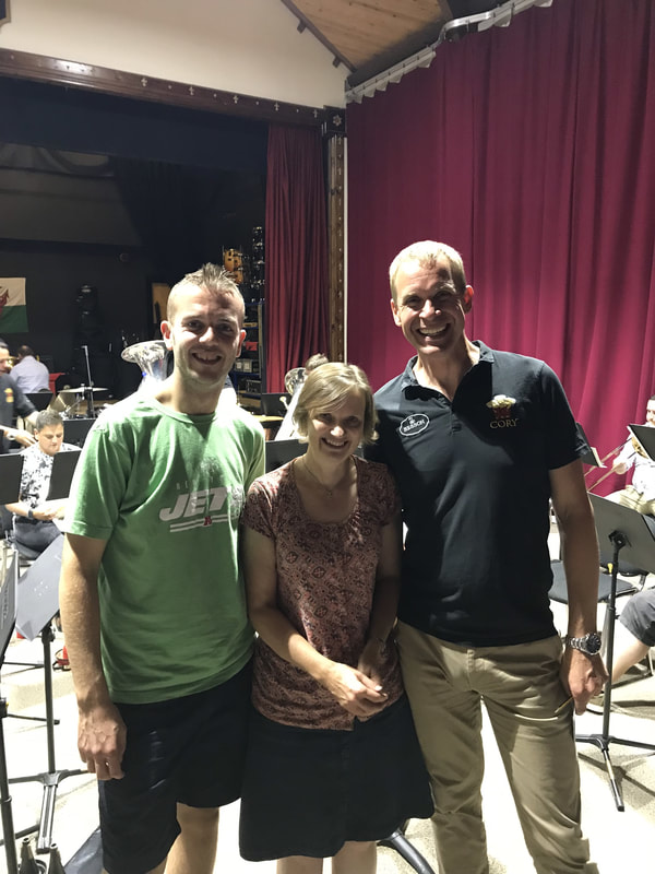 Rehearsal of Slate, Sea and Sky, Cory Band, Tom Hutchinson (cornet), Philip Harper (conductor), Parc Hall, Treorchy, Wales, 19 July 2018
