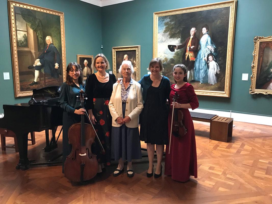 Premiere of Brightest Day a Cloud, Corde di Gioia, Holburn Museum, Bath. L-R Anna Johannsen, Maria Johannsen, Jennifer Henderson (lyricist), Guily Johannsen, 18 September 2018.