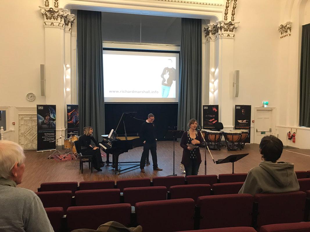 Premiere of Slate, Sea and Sky (cornet and piano). With Richard Marshall and Ruth Webb, Salford University, 9 November 2018.