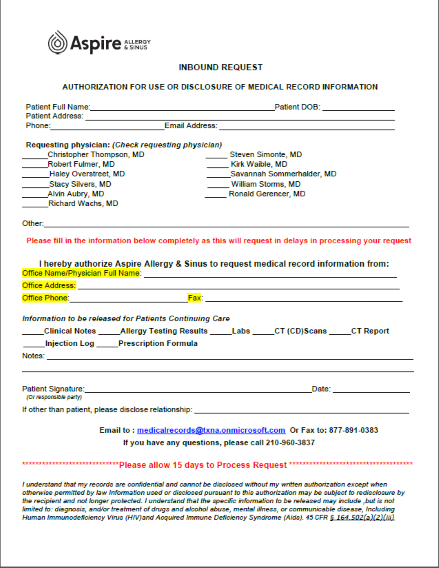 Image of medical records release form