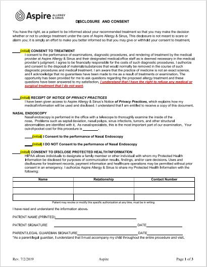 Image of new patient paperwork