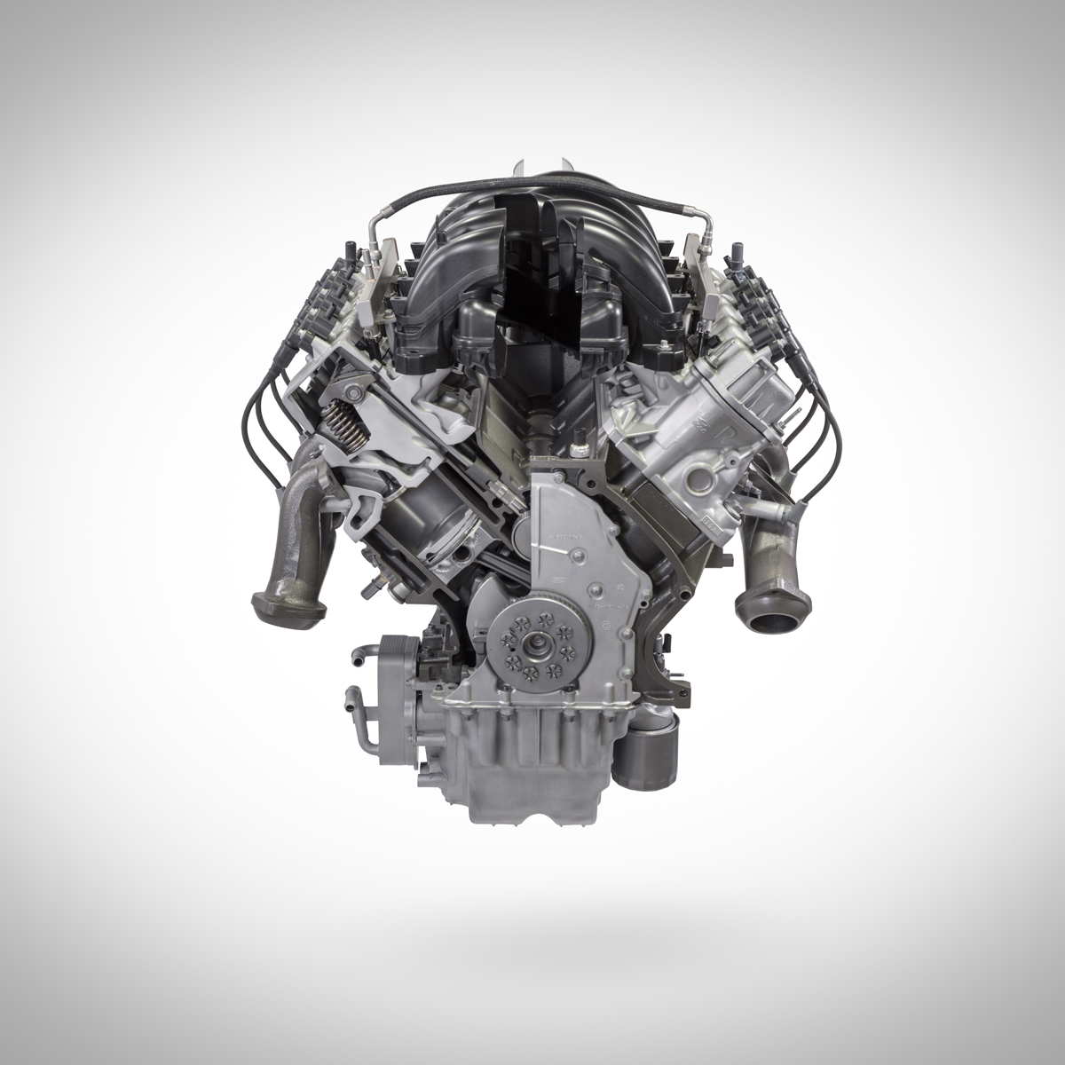 7.3L V8 Ford crate engine from Ford Performance cut away front