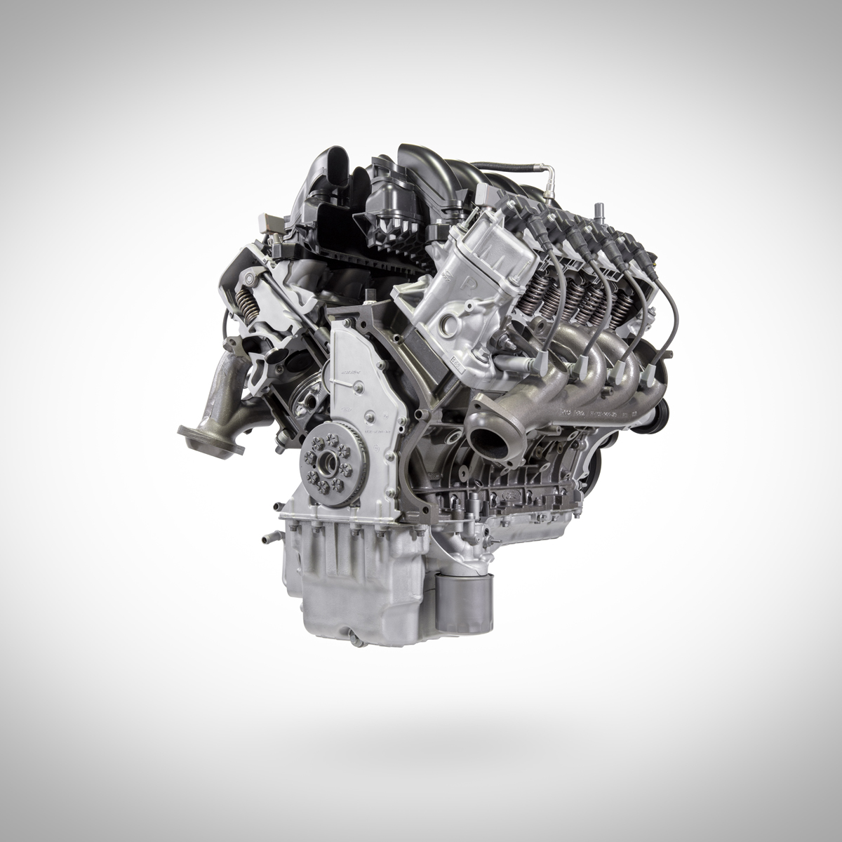 7.3L V8 Ford crate engine from Ford Performance cut away lower front