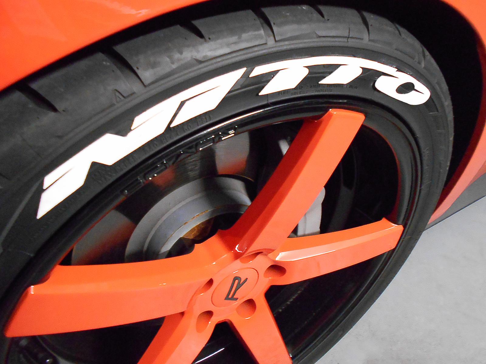Treadwear graphics on tire close up