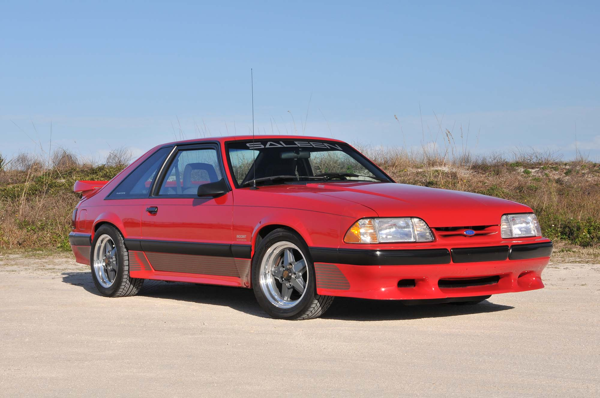 Bright Red 1990 Mustang front