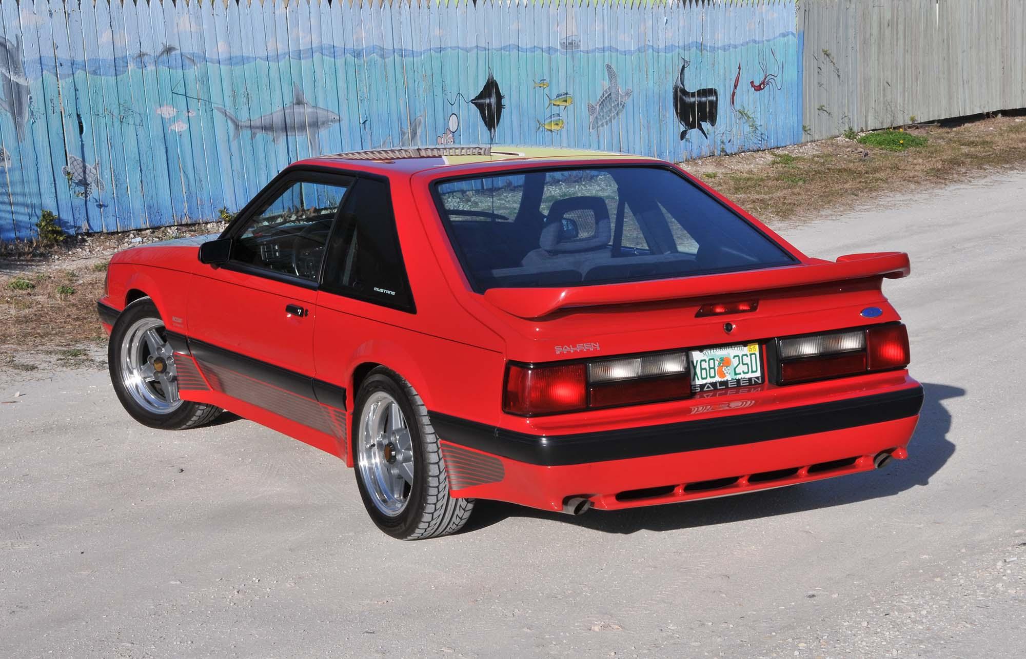 Bright Red 1990 Mustang rear
