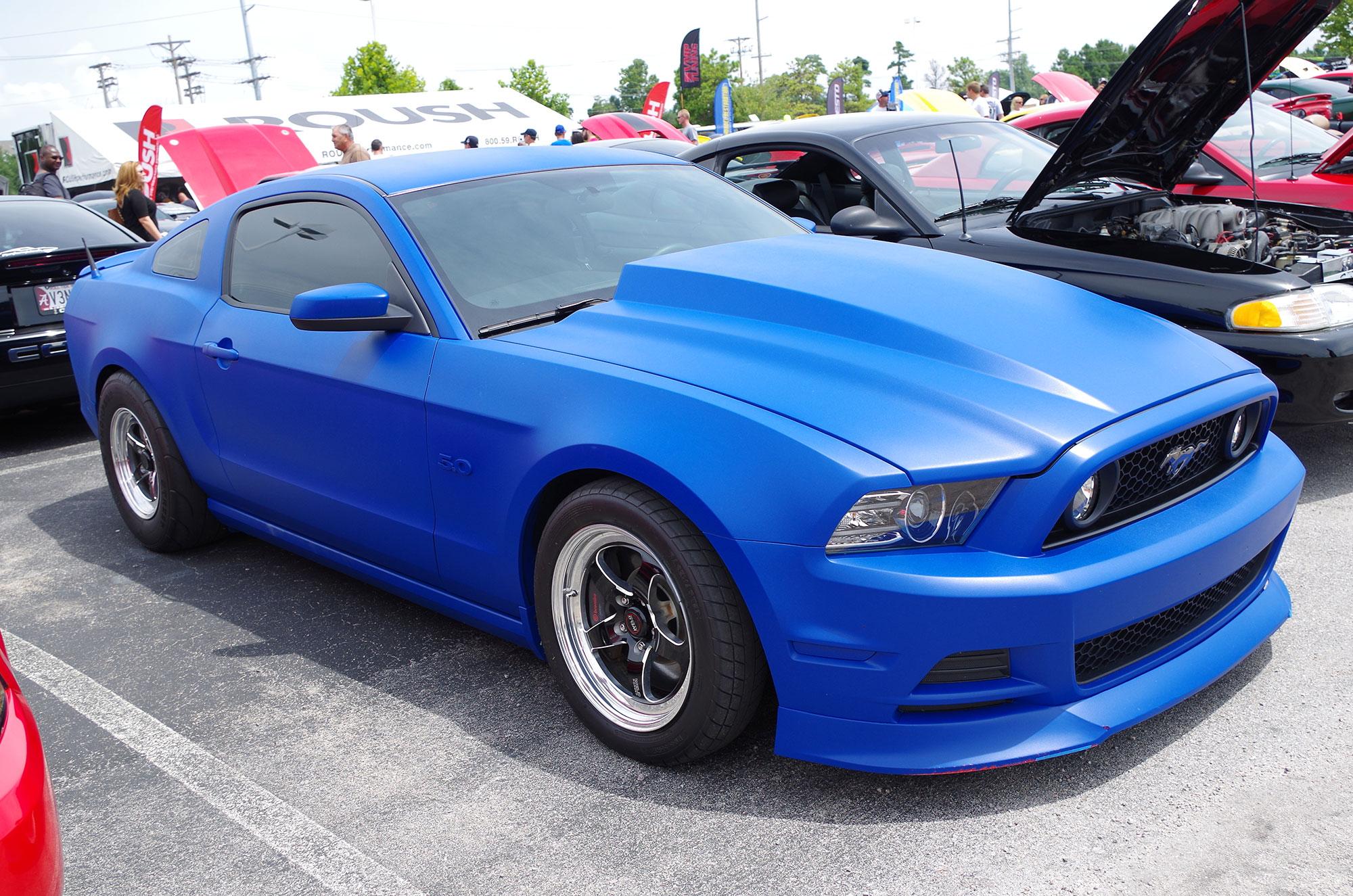 Mustang in a blue final wrap