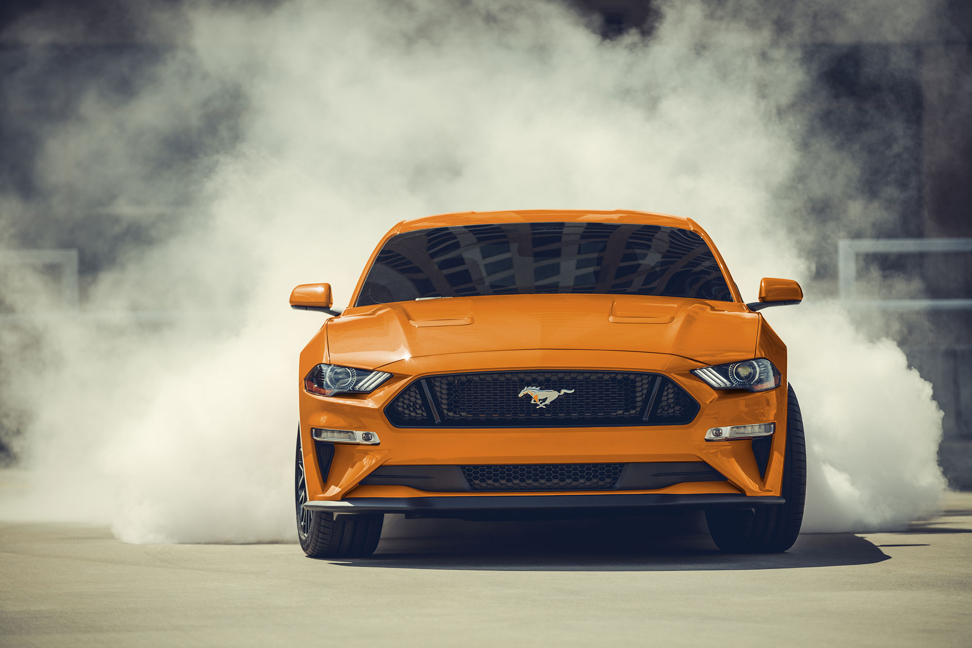 2021 Mustang GT doing a burn out
