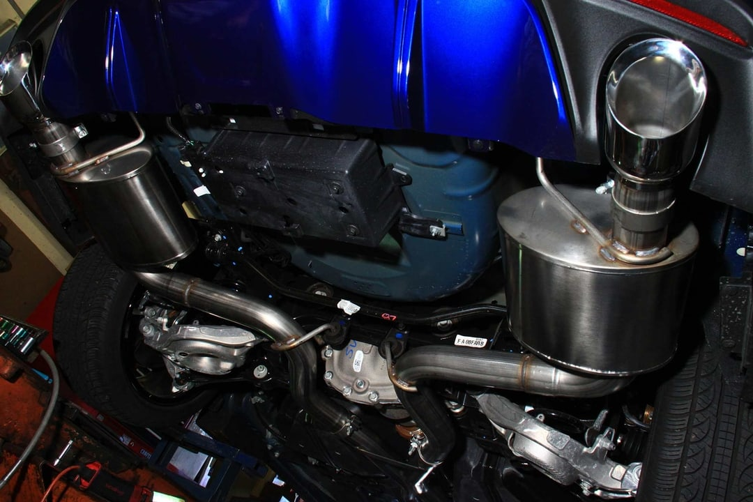 Completely installed Corsa Performance Xtreme exhaust