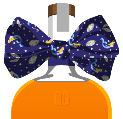 graphic of a bottle of whiskey with a bowtie