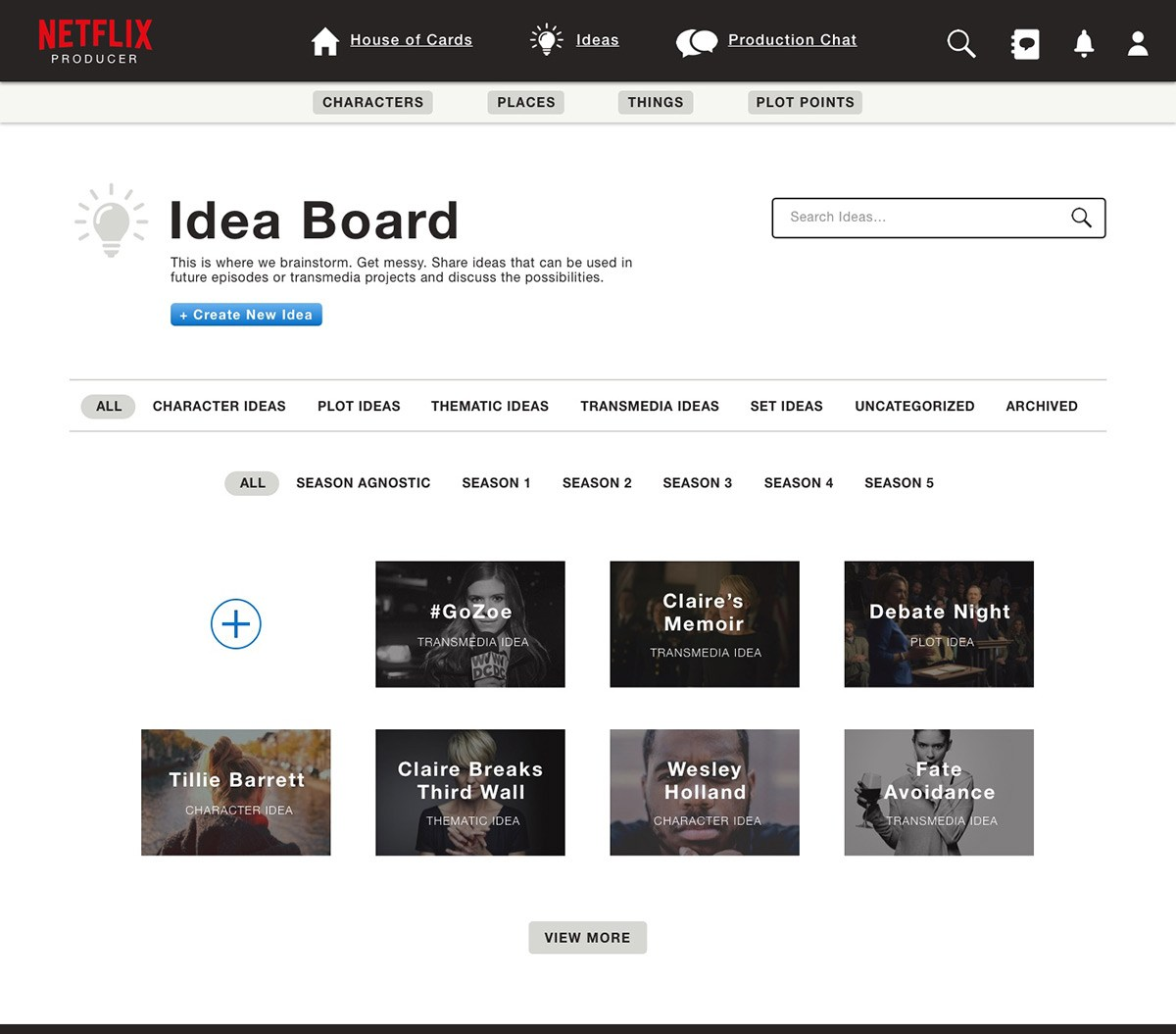 Screenshot of a production's idea board, where collaborators can brainstorm possibilities for episodes or transmedia projects.