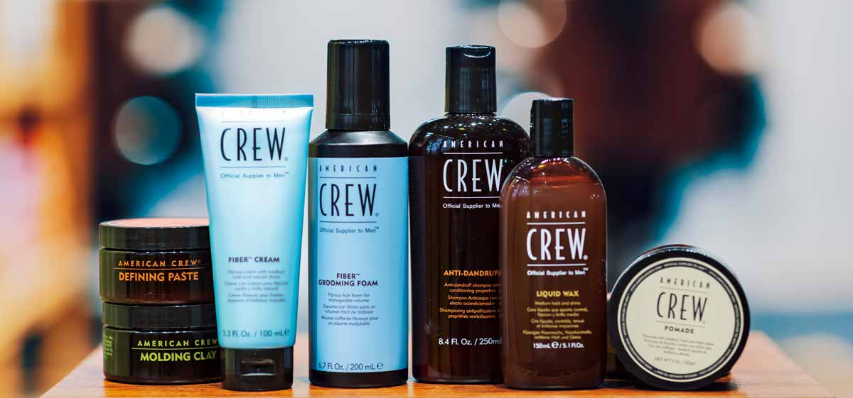 American Crew Products on the shelf in the barbershop