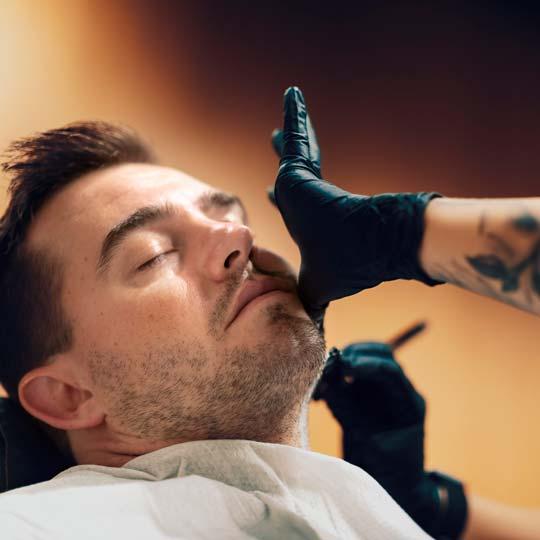 Traditional barbershop shaving techniques