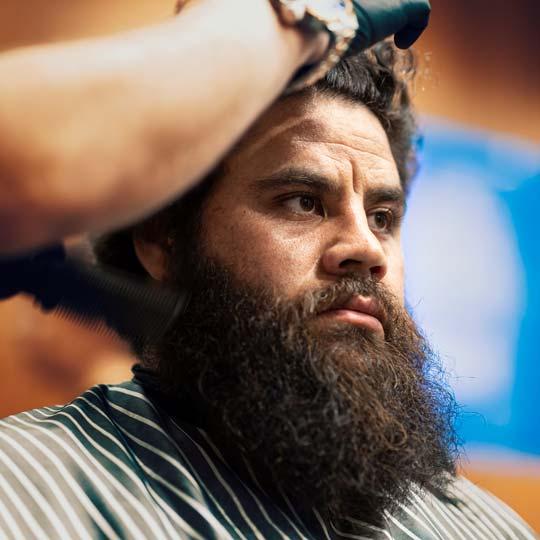 Haircut and beard trim at the barbershop