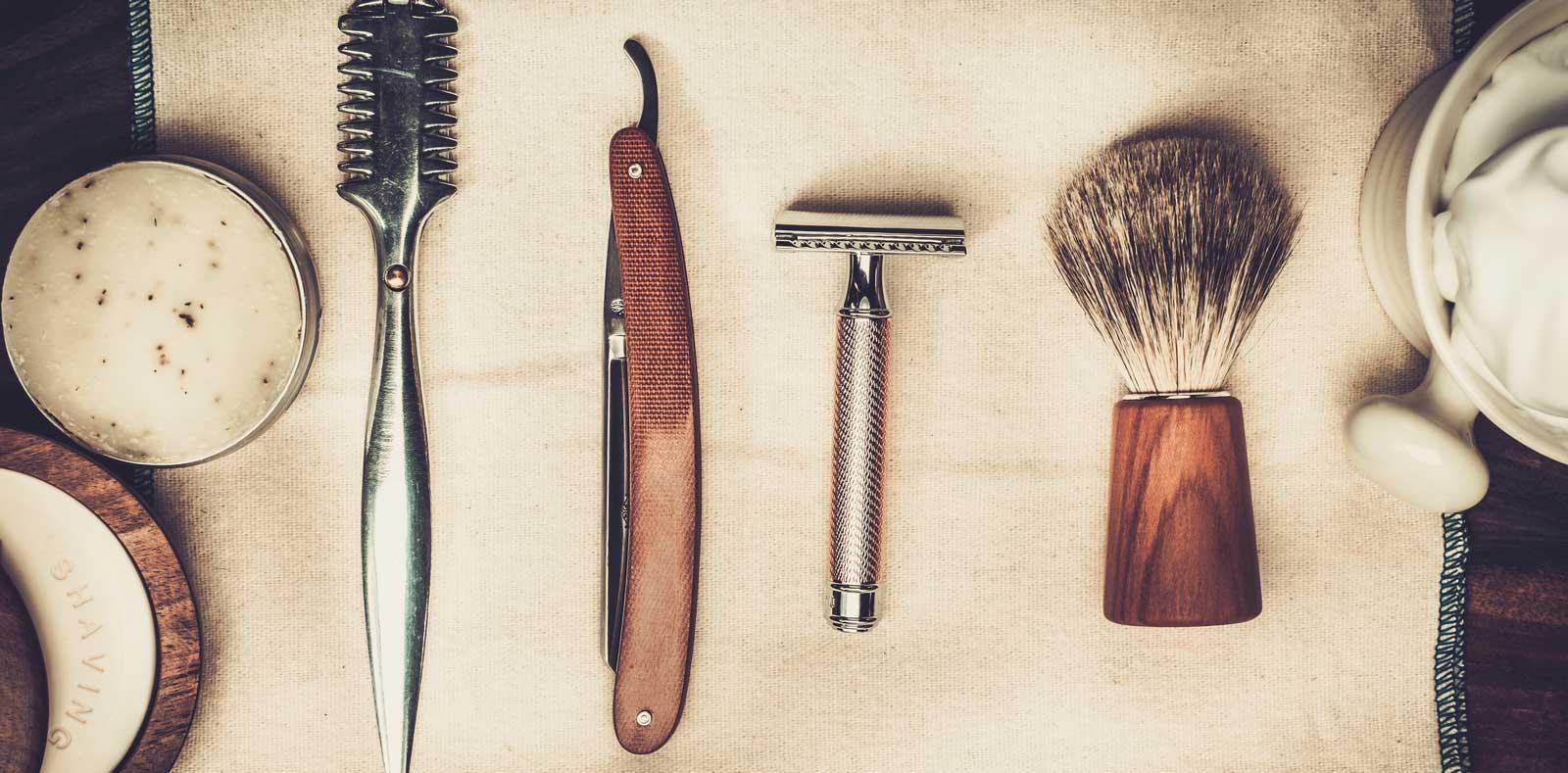 Razors and shaving tools in barbershop