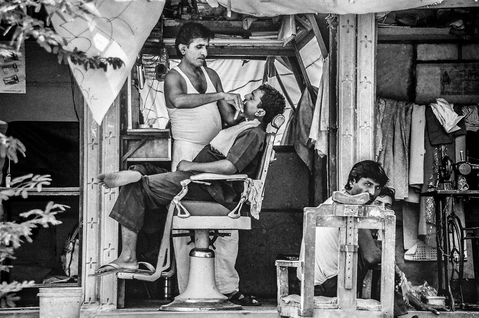 Barber working outdoors