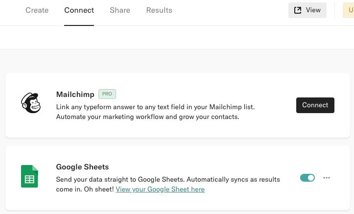 TypeForm GoogleSheets