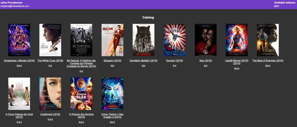 interface loja de filmes