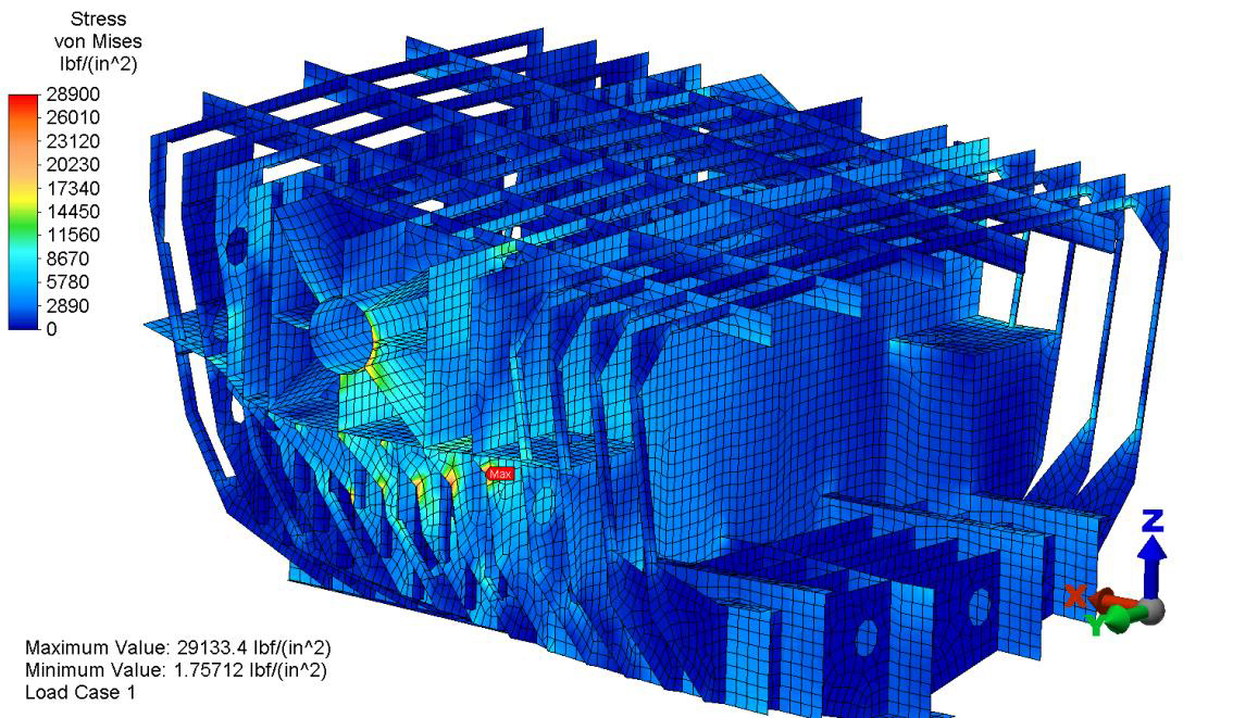 MiNO Marine Finite element analysis of ship structure. Articulated Tug Barge Unit.
