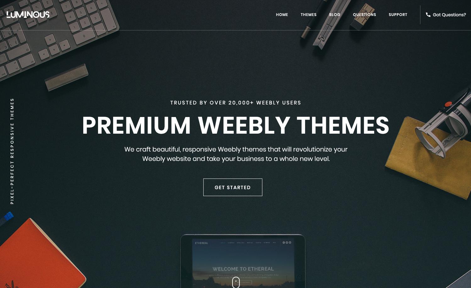 Homepage screenshot of Luminous Themes