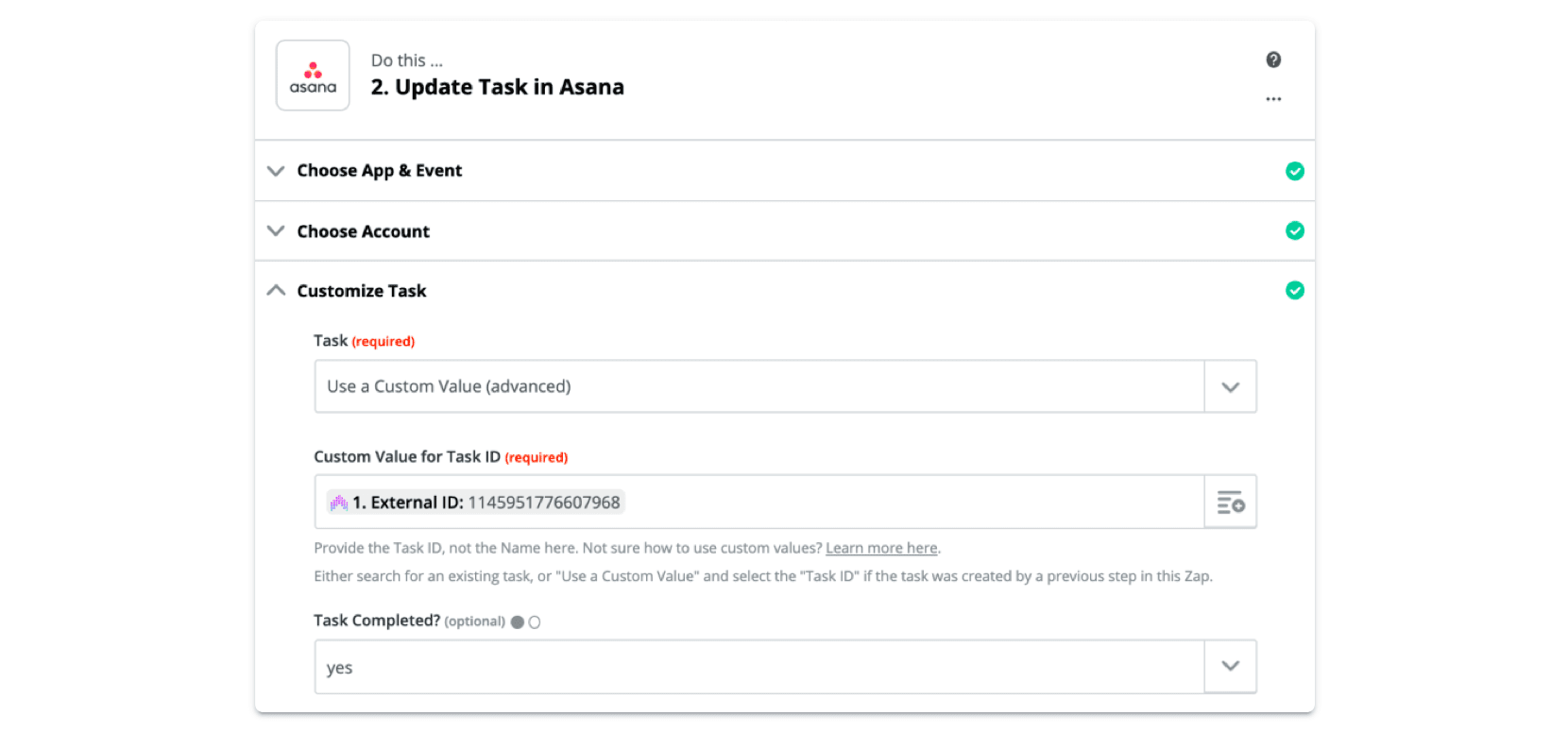 Update Asana task with Anomaly ID