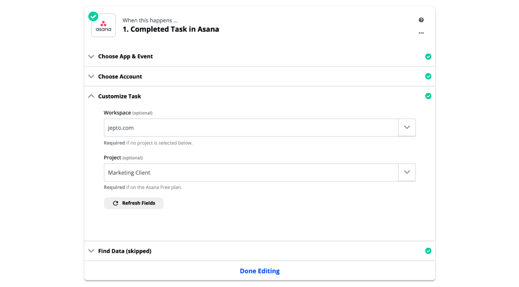 Completed task in Asana Trigger