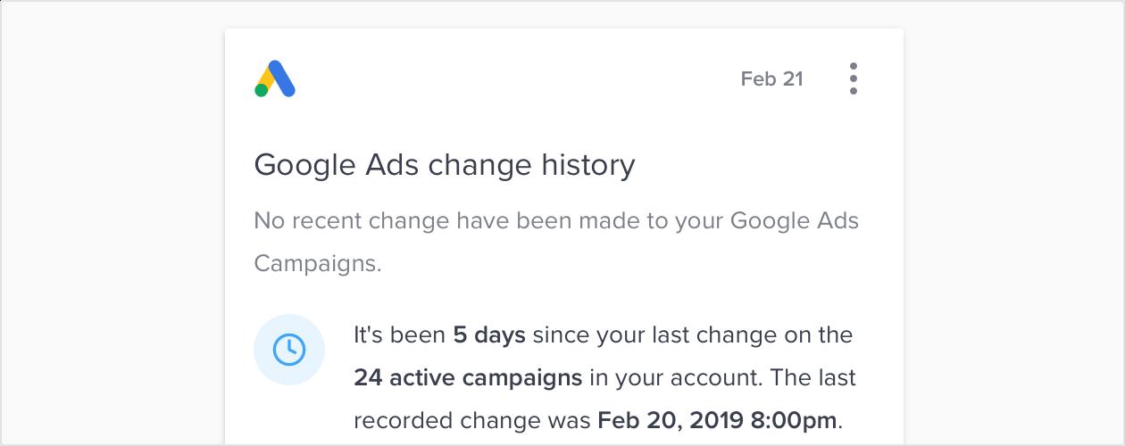Automation Job - Google Ads Change history