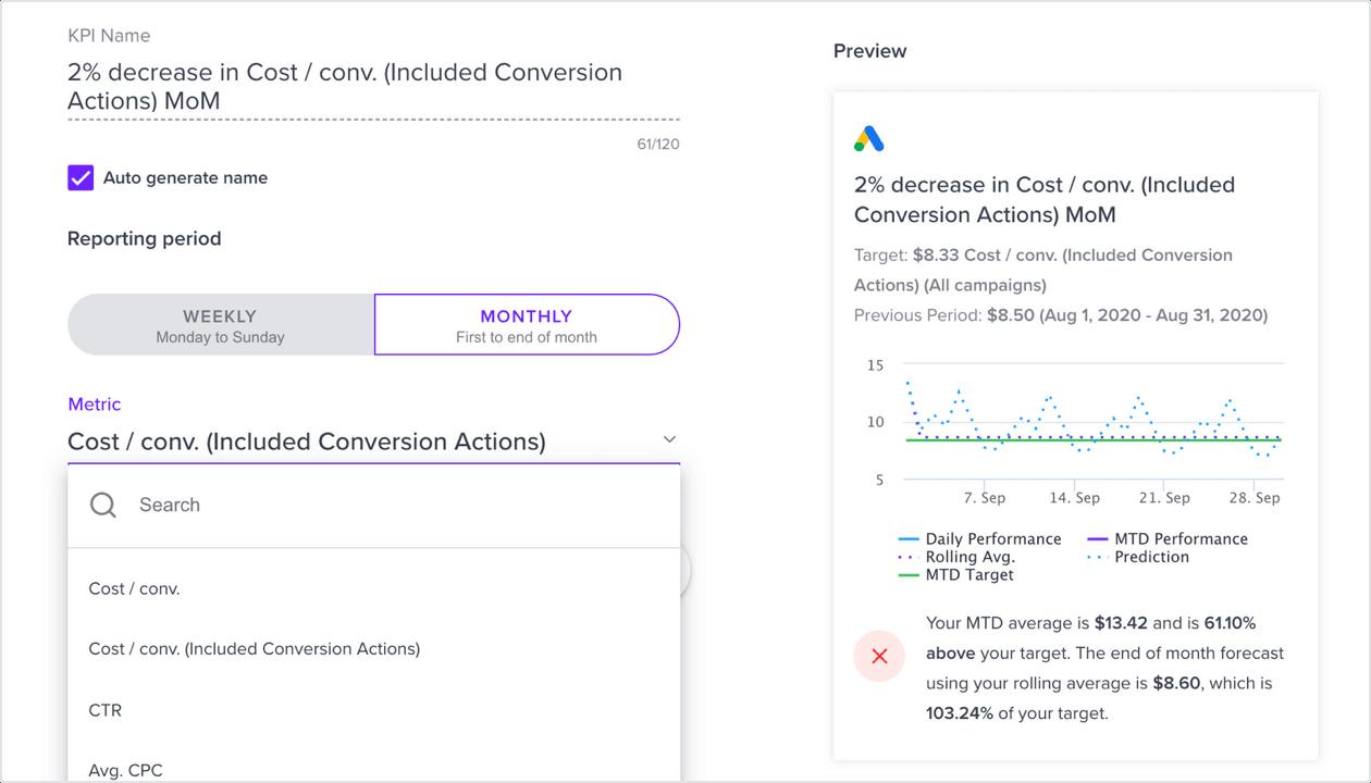 Google & Facebook Conversion metrics