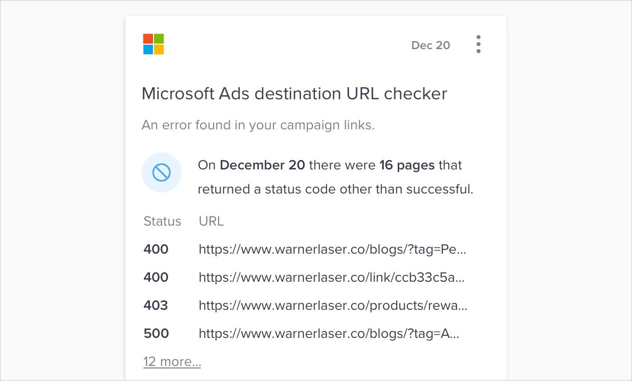 Automation Job - Microsoft Ads destination URL checker