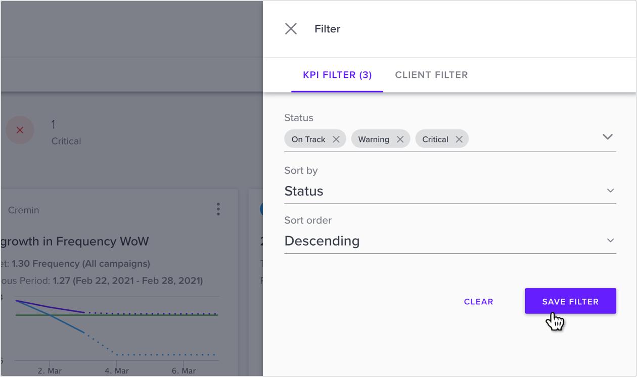 Status Filter and Sorting