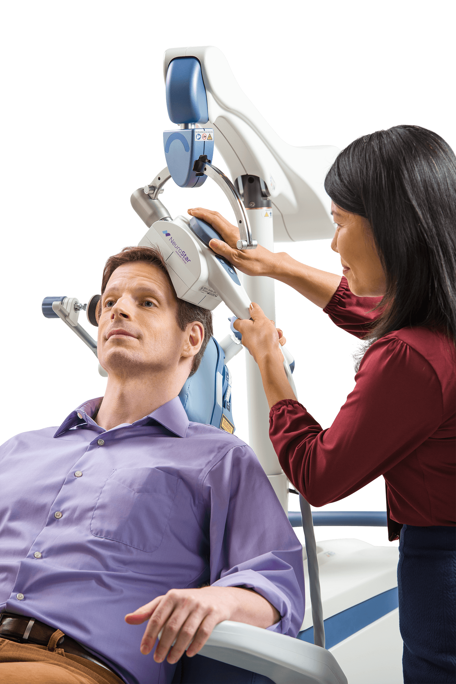 person receiving tms treatment for depression