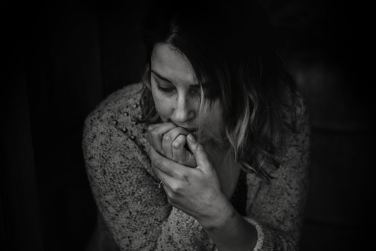 black and white photo of anxious girl