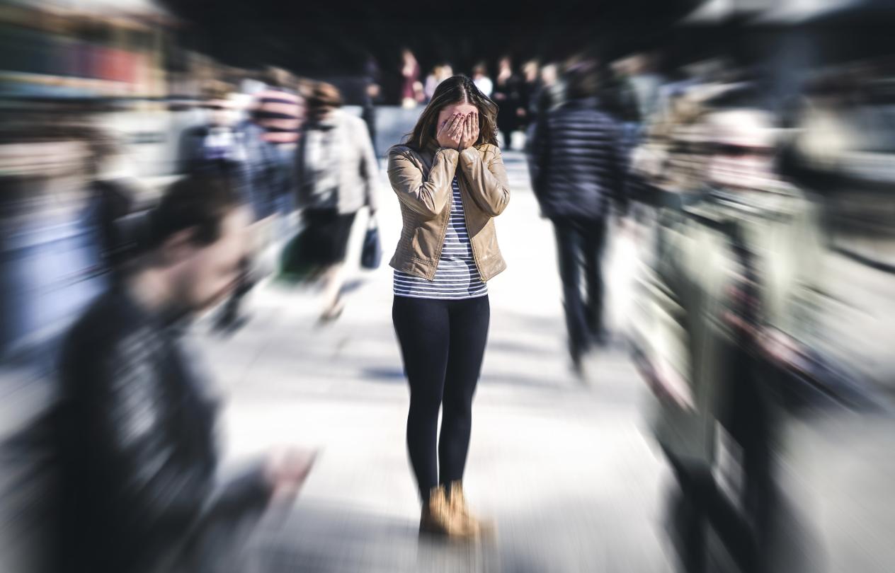 Anxiety woman crowd