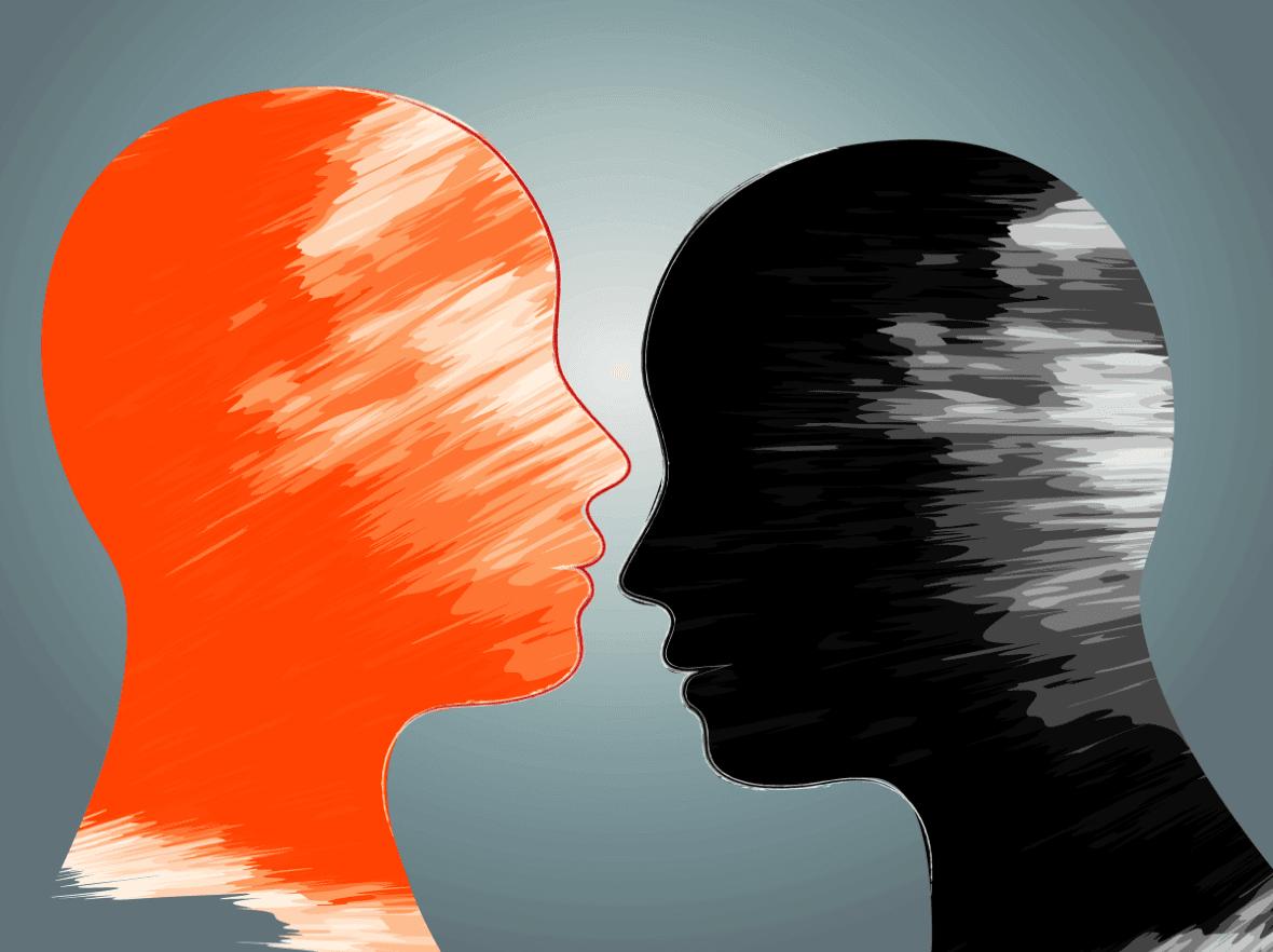 one orange head one black head