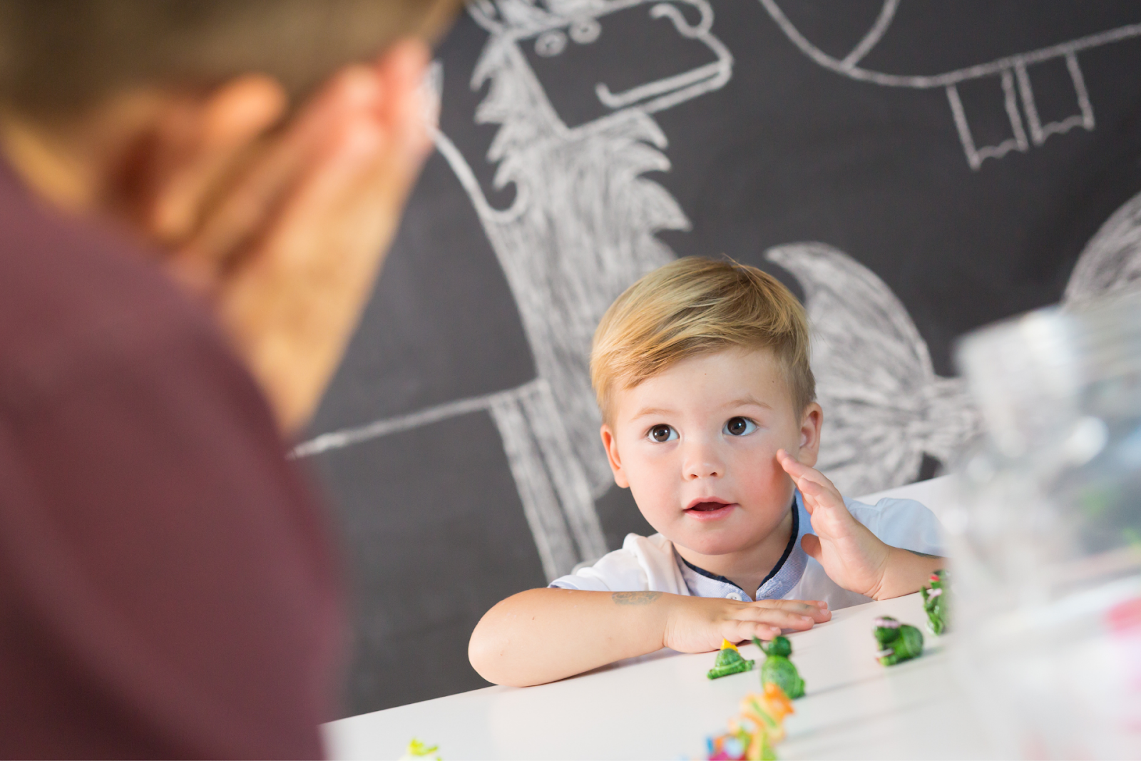 counselor talking to young child