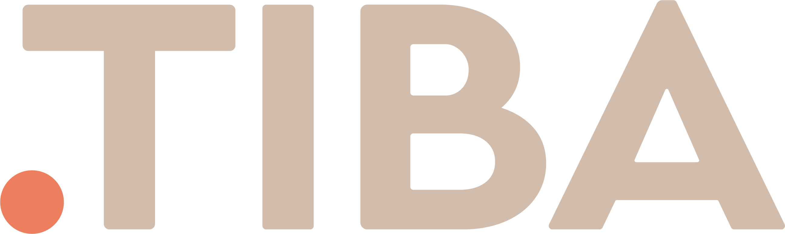 the .TIBA brandmark - A red dot followed by TIBA written in beige Cera Pro capital letters