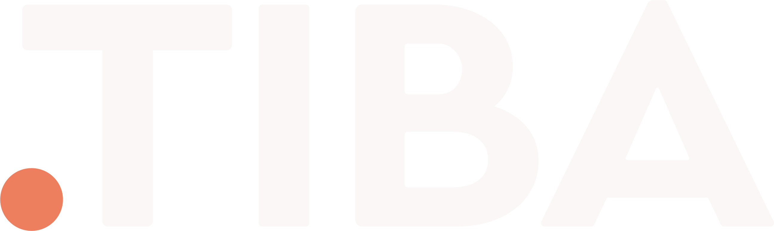 the .TIBA brandmark - A red dot followed by TIBA written in white Cera Pro capital letters