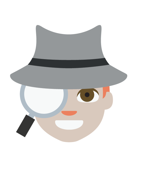The .TIBA emoji portraying an investigator, wearing a hat with a black ribbon and a magnifying glass