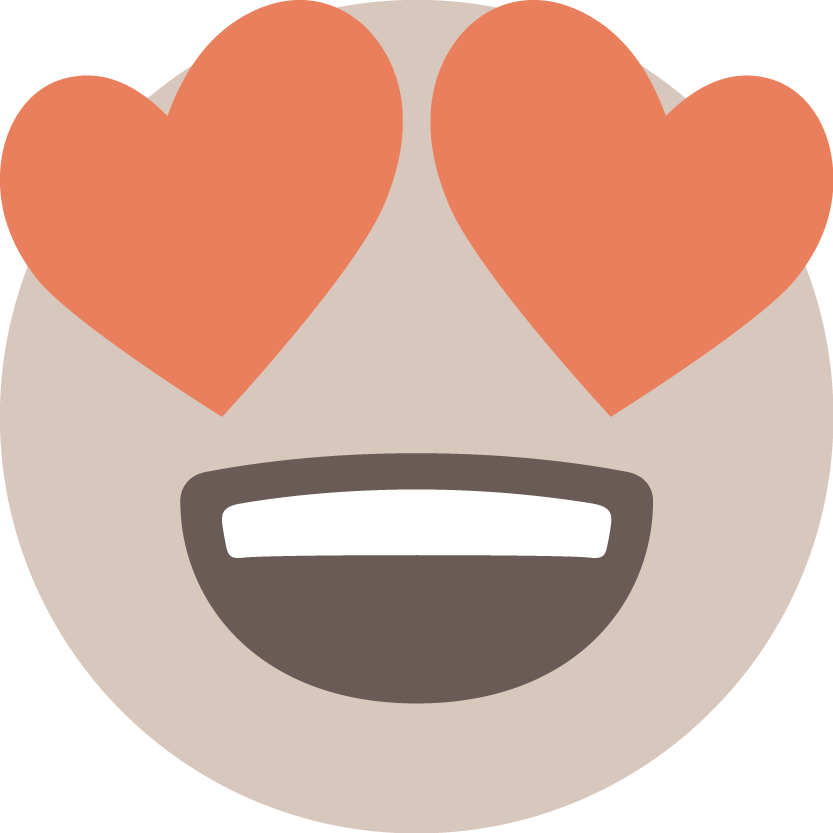 The .TIBA emoji showing a beige smiley with red eyes shaped as hearts with a very happy smiley mouth.
