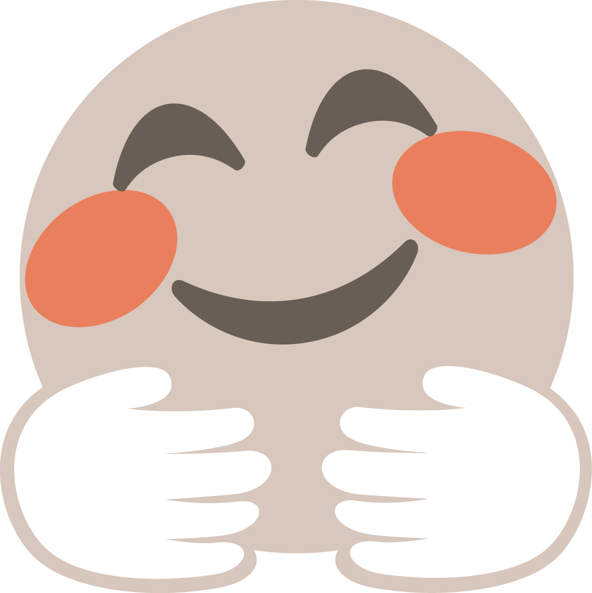 "The .TIBA emoji - called ""huggy"". The face is very happy and positive. The skin color is beige with red cheeks  showing to hands in white hugging"